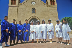 Sunday choir in in front of San Miguel Historic stock photo