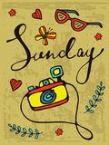 Sunday colorful hand drawn card with camera and sunglasses Royalty Free Stock Images