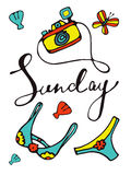 Sunday colorful hand drawn card with camera and swimming suit Royalty Free Stock Images
