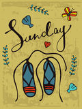 Sunday colorful hand drawn card with sandals Royalty Free Stock Photo