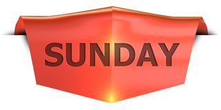 Banner sunday. Sunday 3D rendered red banner , isolated on white background Stock Photos
