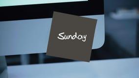 sunday Dagar av veckan Inskriften på klistermärken på bildskärmen stock illustrationer