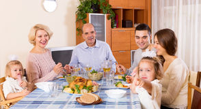 Sunday dinner of family Stock Image