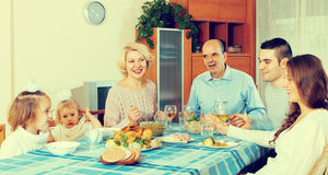 Sunday dinner of family. Sunday dinner in the bosom of happy family indoor royalty free stock photography
