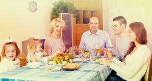 Sunday dinner of family. Sunday dinner in the bosom of family indoor Royalty Free Stock Images