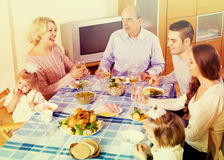 Sunday dinner of family Royalty Free Stock Image