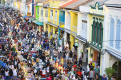 Sunday evening street food market at Thalang Road in Phuket Old Town stock image