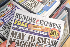 Sunday Express newspaper. LONDON, ENGLAND - MAY 14, 2017 : Sunday Express is a sister paper of The Daily Express newspaper which is daily national middle market Stock Images