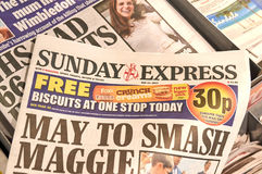 Sunday Express newspaper. LONDON, ENGLAND - MAY 14, 2017 : Sunday Express is a sister paper of The Daily Express newspaper which is daily national middle market Stock Image
