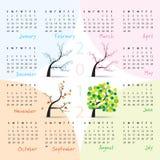 sunday för 2012 kalenderstarter vecka stock illustrationer