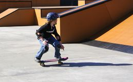 Sunday fun. Practice at skate park Stock Images