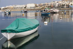 Sunday in the harbor. Silence in the small fishing harbor in Malta Stock Photography