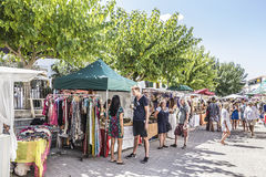 Sunday hippy market. The small hippy market at St Juan, Ibiza, Spain, is a new and not very known yet, but it's a secret tip among the island scene Stock Photos