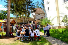 Sunday inside the fortified church in the village Crit, Transylvania Royalty Free Stock Photos
