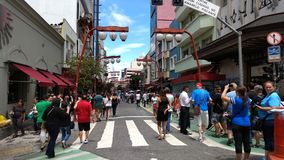 Sunday in Liberdade. Galvao Bueno Street in the Asian district of Liberdade, Sao Paulo, Brazil Stock Images