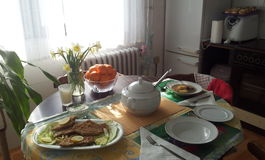 Sunday lunch. With soup, fried meat loaf Royalty Free Stock Photography