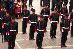 Sunday Marching parade Arequipa. Military and delegations of schools, companies etc. marching past the colonial arcaded buildings surrounding Plaza de Armas at Stock Photography