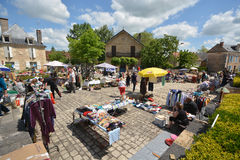 A Sunday market at Aiguillon in France Stock Photography
