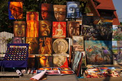 Sunday Market, Chiang Mai. Paintings on sale at the Sunday Market, Chiang Mai, Thailand Stock Photos