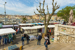 Sunday market La Ciotat stock photography