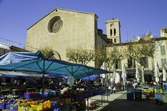 Sunday market in Pollenca, Dec. 9th 2012. Sunday Market and main square in Pollenca, Majorca, Spain royalty free stock photo