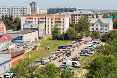 Sunday market in the resort Belokurikha Altai Krai. Belokurikha, Russia - July 25, 2015: Sunday market in the resort Belokurikha Altai Krai Stock Images
