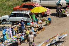 Sunday market in the resort Belokurikha Altai Krai. Belokurikha, Russia - July 25, 2015: Sunday market in the resort Belokurikha Altai Krai Stock Photo