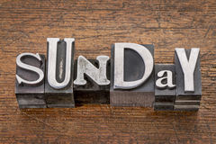 Sunday in metal type Stock Image