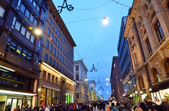 Sunday November night in the commercial center of Helsinki Stock Photo