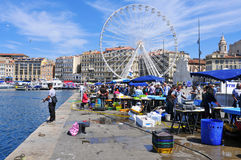 Sunday at the Old Port of Marseille, France Royalty Free Stock Image