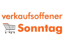 Sunday Opening. Shopping cart with orange german text verkaufsofferner Sonntag, translate open sunday Royalty Free Stock Photo