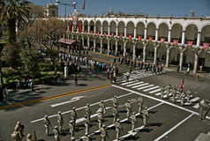 Sunday Parade, Plaza de Armas, Arequipa Royalty Free Stock Photos