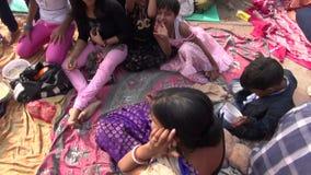 Sunday people near Dakshineswar Kali temple stock footage