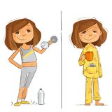 Sunday Plan Diet and Exercise stock images