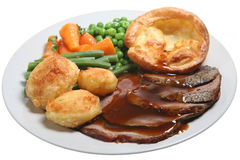 Sunday Roast Beef Dinner Royalty Free Stock Photos