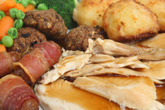 Sunday Roast Chicken Dinner Royalty Free Stock Images