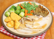 Sunday Roast Chicken Dinner Stock Photos