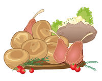 Sunday roast. An illustration of a traditional sunday roast meal with yorkshire puddings rack of lamb and a baked potato on a white background Royalty Free Stock Photography