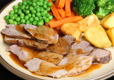 Sunday Roast Lamb Dinner Stock Photos