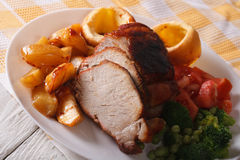 Sunday Roast on the plate closeup. horizontal Royalty Free Stock Photos