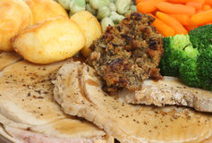 Sunday Roast Pork Dinner Royalty Free Stock Image