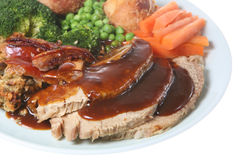 Sunday Roast Pork Dinner Stock Image