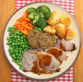 Sunday Roast Pork Dinner from Above Stock Photo