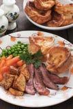 Sunday roast with yorkshire pudding Royalty Free Stock Image