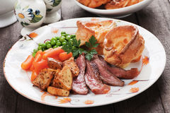 Sunday roast with yorkshire pudding Stock Images