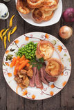 Sunday roast with yorkshire pudding Royalty Free Stock Images
