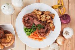 Sunday roast with yorkshire pudding Royalty Free Stock Photo