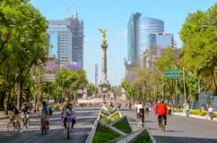 Sunday´s bikers in Paseo de la Reforma, Mexico. CIUDAD DE MEXICO, DF / MEXICO- FEBRUARY 3 2014: A changing landscape. Sunday´s bikers in Paseo de la Royalty Free Stock Images