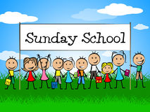 Sunday School Banner Indicates Youths Child And Faith. Sunday School Banner Showing Devotee Church And Kids Royalty Free Stock Photography