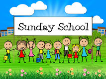Sunday School Banner Represents Prayer Praying And Youngsters Royalty Free Stock Photography